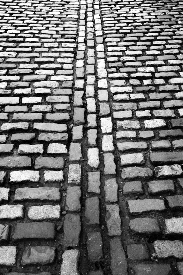 Ireland, Dublin, Temple Bar, Cobblestones, black and white photography