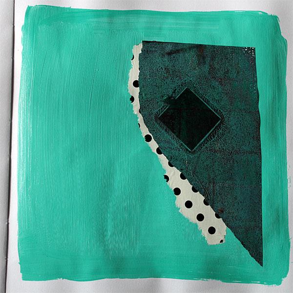 monoprint collage - green